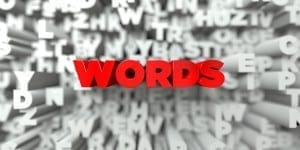 WORDS -  Red text on typography background - 3D rendered royalty free stock image. This image can be used for an online website banner ad or a print postcard.